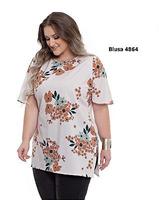 BLUSA PLUS SIZE FLORAL BEGE REF 4864