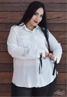 CAMISA PLUS SIZE M/L OFF WHITE REF 6636