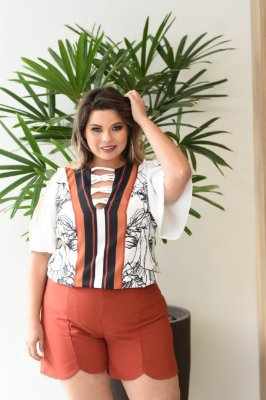 BLUSA PLUS SIZE OFF WHITE REF 31466