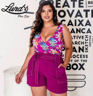 BODY PLUS SIZE S/M ESTAMPA ROSA REF 700238