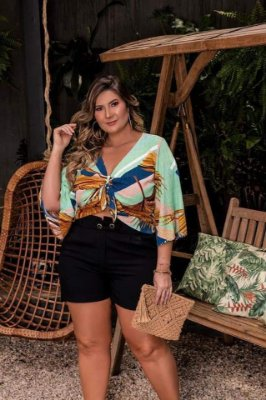 CROPPED PLUS SIZE ESTAMPA VERDE REF 720057
