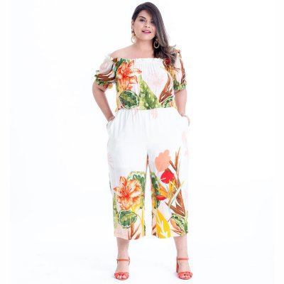 MACACÃO PLUS SIZE PANTACOURT ESTAMPA OFF WHITE REF. 900294
