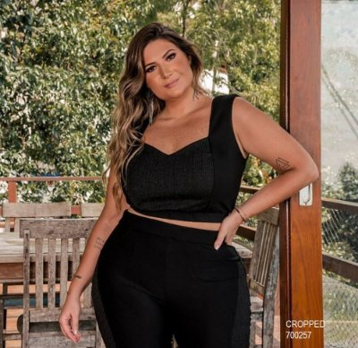 CROPPED PLUS SIZE PRETO LUREX REF 700257