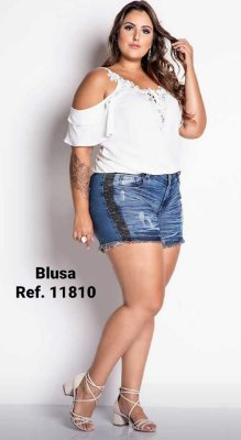 BLUSA PLUS SIZE OMBRO VAZADO OFF WHITE REF 11810