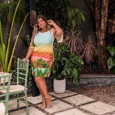 VESTIDO PLUS SIZE ESTAMPA TROPICAL AZUL CLARO REF 900275
