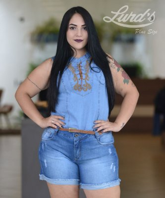 REGATA PLUS SIZE JEANS BORDADA REF 11454