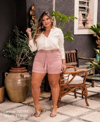 SHORTS PLUS SIZE ROSÊ REF 810050