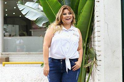 CAMISA PLUS SIZE AMARRAÇÃO S/M BRANCA REF 3099