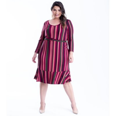 VESTIDO PLUS SIZE M/L ESTAMPA BORDÔ REF 65759