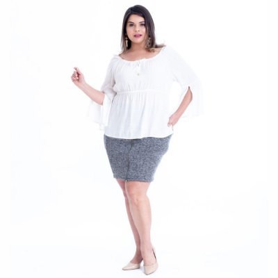 BLUSA PLUS SIZE MANGA 3/4 OFF WHITE REF 6430