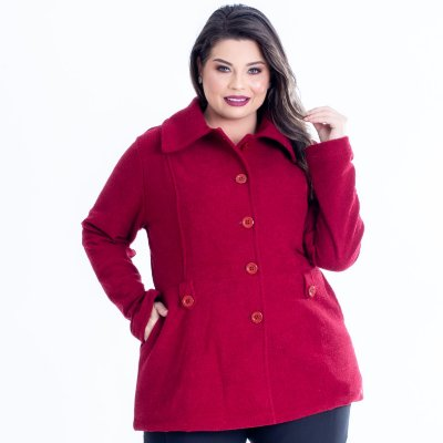 CASACO PLUS SIZE ALONGADO BORDÔ REF M2523