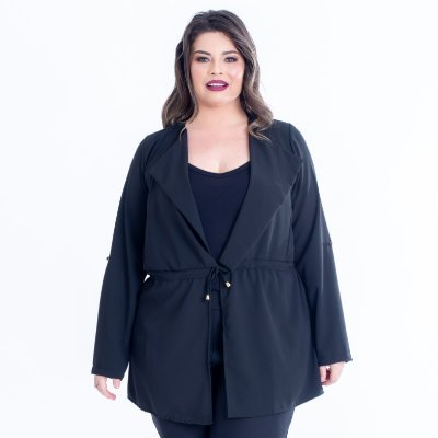 CARDIGAN PLUS SIZE ALONGADO PRETO REF 6475
