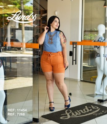 SHORTS PLUS SIZE CENOURA REF 7268