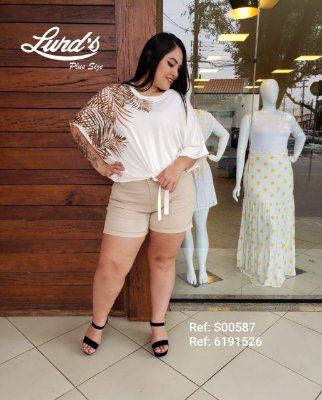BLUSA PLUS SIZE M/M ESTAMPADA OFF WHITE REF. S00587
