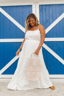 VESTIDO LONGO PLUS SIZE OFF WHITE REF. 900336