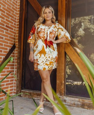 VESTIDO PLUS SIZE M/M ESTAMPADO OFF WHITE REF. 900303