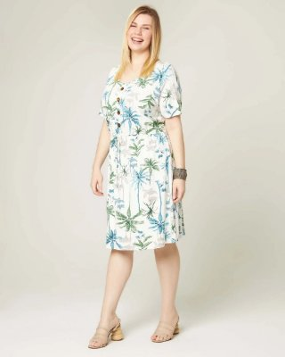 VESTIDO PLUS SIZE M/M ESTAMPADO OFF WHITE REF. 77563