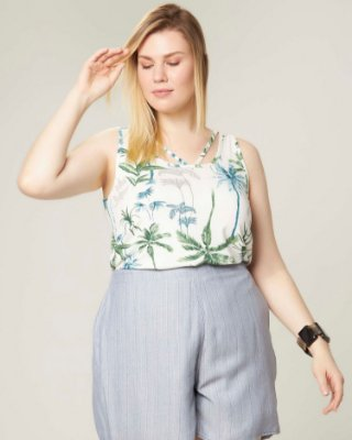 REGATA PLUS SIZE ESTAMPA FLORAL OFF WHITE REF. 75083