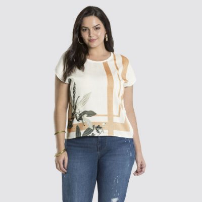 BLUSA PLUS SIZE M/M ESTAMPA OFF WHITE REF. 47144