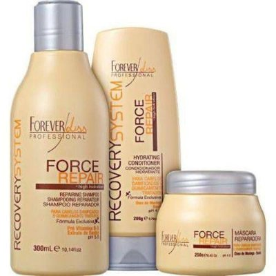 Kit Force Repair Forever Liss 3 produtos (condicionador 200, mascara 250g , shampoo 300ml)