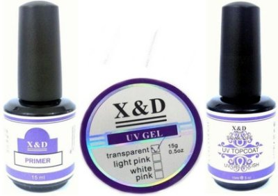 Kit Unhas X&D - Primer, Top Coat e Gel uv