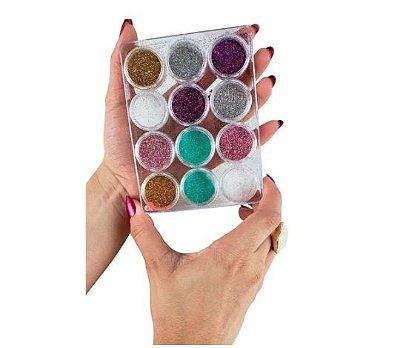 Caixa com 12 Glitter de unhas para encapsulado