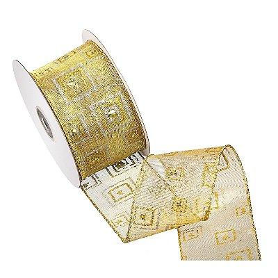 Fita ouro c/ design ouro e prata A108427