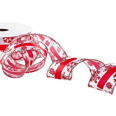 Fita acetinada branca c/ design vermelho A107913