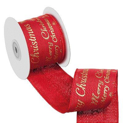 Fita vermelha Merry Christmas ouro A108875