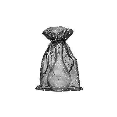 """Saquinho de organza Preto com """"Pois"""" Branco c/ pingente 24X15cm B154353"""