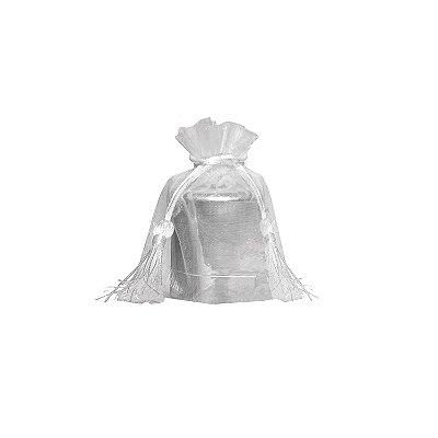 Saquinho de organza Branco com pingente  14 x 11cm B154321