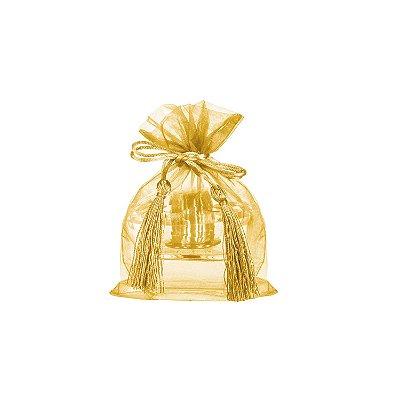 Saquinho de organza Ouro com pingente 17x13cm B15786