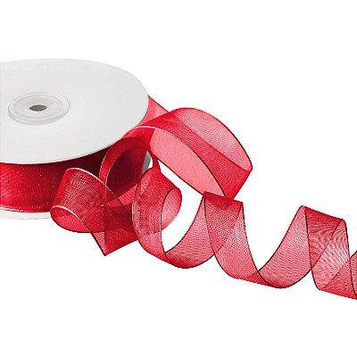 """Fita Organza Vermelha """"Mini Pois"""" Branco 1,90cm x 50m A208564"""