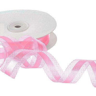 Fita Organza Rose Quartz c/ Cetim no Centro 2,54cm x 50m A208570