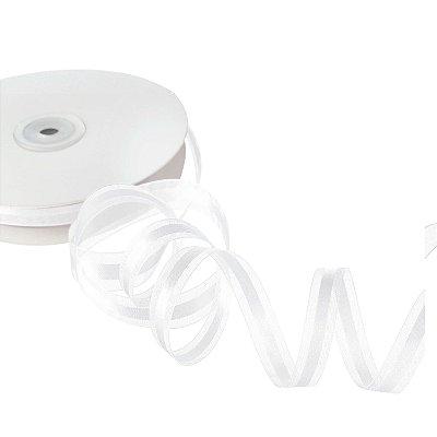 Fita Organza White c/ Cetim no Centro 1,27cm x 50m A208575