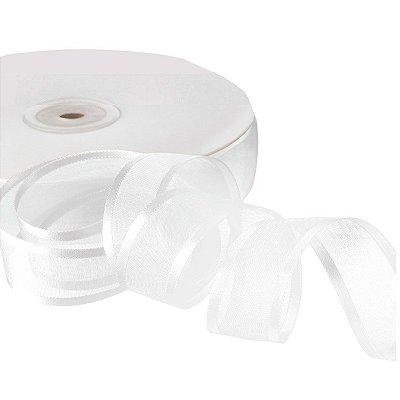 Fita Organza Branca  Borda Acetinadas 2,54cm x 50m A208588