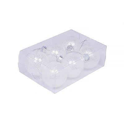 Caixa com 6 bolas branco nevado brilhoso 8cm G109271