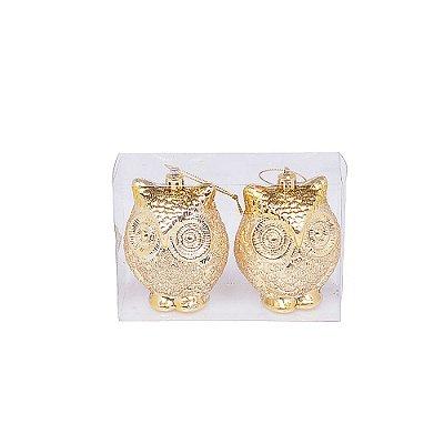 Caixa com 2 corujas ouro G109288