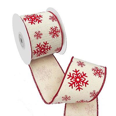 Fita em algodão cru com estrelas de neve e borda vermelha A109393