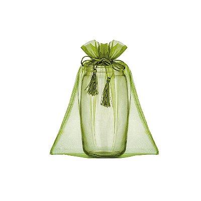 Saquinho de organza c/ pingente verde musgo 45x36cm B155952