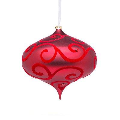 Bola natalina pião vermelho c/ arabescos e pedras G109260