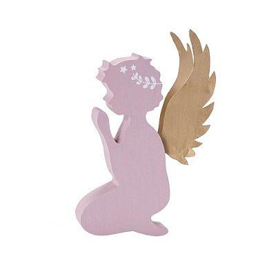 Perfil Anjo em madeira rosa com asas em metal F359487