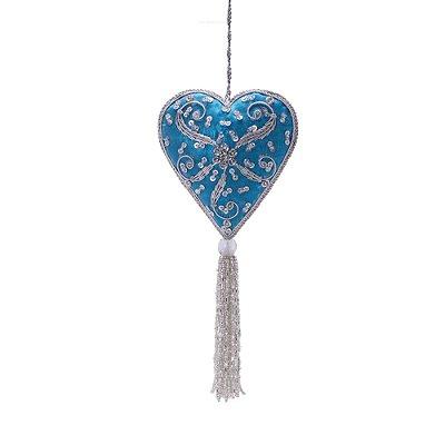 Coração azul claro c/pedrarias e tassel p/pendurar F359677