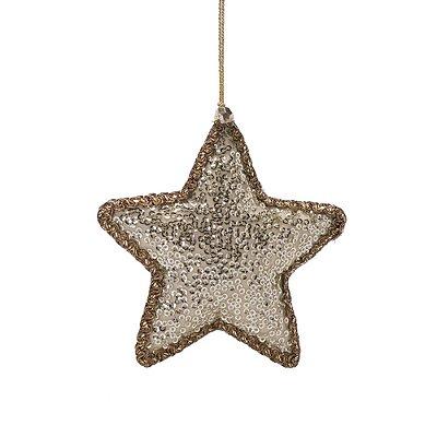 Estrela dourada c/mini lantejoulas ouro p/pendurar F359695