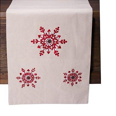 Caminho de mesa off white c/bordado vermelho C209722