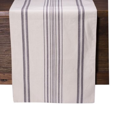 Caminho de mesa off white c/listras cinza e prata C209728