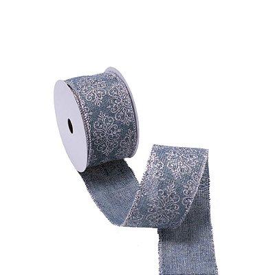 Fita aramada azul tyfany c/medalhões prata A109833