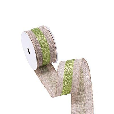 Fita aramada cru c/listra verde gliterada A109890