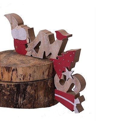 Ornamento Xmas com noel para mesa em madeira F359515