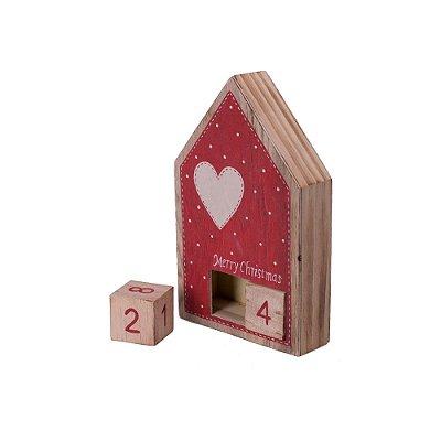 Casinha calendário vermelha com coração em madeira F359589
